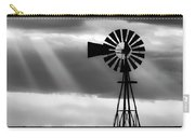 Bw Windmill And Crepuscular Rays -01 Carry-all Pouch by Rob Graham