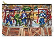 Calgary Flames Ottawa Sens Toronto Leafs Canadiens Oilers Boston Bruins Hockey Art Outdoor Rinks Carry-all Pouch
