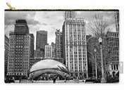 Chicago Skyline In Black And White Carry-all Pouch