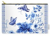 Chinoiserie Blue And White Pagoda With Stylized Flowers Butterflies And Chinese Chippendale Border Carry-all Pouch