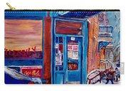 Corner Cafe Clark And Fairmount Wilensky's Winter Scene Habs Hockey Art C Spandau Quebec Artist Carry-all Pouch