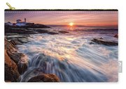 Crashing Waves At Sunrise, Nubble Light.  Carry-all Pouch by Jeff Sinon