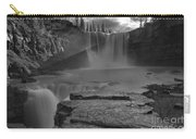 Crescent Falls Light Rays Through The Mist Black And White Carry-all Pouch