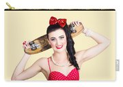 Cute Pinup Skater Girl In Punk Glam Fashion Carry-all Pouch