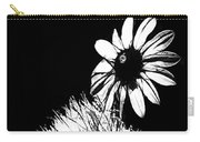 Daisy And Thistle Black And White Carry-all Pouch