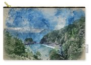 Digital Watercolor Painting Of Beautiful Dramatic Sunrise Landsa Carry-all Pouch