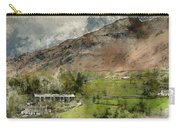 Digital Watercolor Painting Of Beautiful Old Village Landscape N Carry-all Pouch