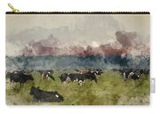Digital Watercolor Painting Of Cattle In Field During Misty Sunr Carry-all Pouch
