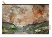 Digital Watercolor Painting Of Llyn Nantlle At Sunrise Looking T Carry-all Pouch
