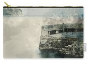 Digital Watercolor Painting Of Peaceful Landscape Of Stone Jetty Carry-all Pouch