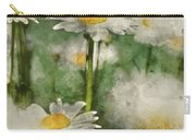 Digital Watercolor Painting Of Wild Daisy Flowers In Wildflower  Carry-all Pouch