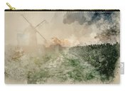 Digital Watercolor Painting Of Windmill In Stunning Landscape On Carry-all Pouch