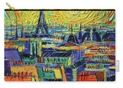 Eiffel Tower And Paris Rooftops In Sunlight Textural Impressionist Stylized Cityscape Mona Edulesco Carry-all Pouch