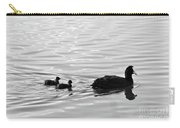Eurasian Coot And Offspring In Ria Formosa, Portugal. Monochrome Carry-all Pouch