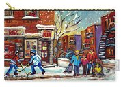 Face Off Street Hockey At The Corner Dep Snow Falling Streets Of Montreal Quebec Artist C Spandau Carry-all Pouch