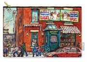 Fairmount Bagel Bakery Laneway Hockey Art Depanneur Winter Scenes C Spandau Montreal Landmark Stores Carry-all Pouch