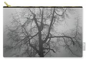 Foggy Tree In Black And White Carry-all Pouch by William Selander