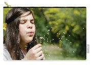 Girl Blowing Dandelion Flower Carry-all Pouch