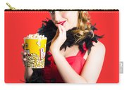 Glamorous Woman Holding Popcorn Carry-all Pouch