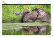 Great Blue Heron And Boulder Carry-all Pouch