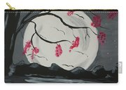 Grey Moon With Red Flowers Carry-all Pouch