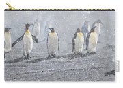 Group Of King Penguins In The Snow Carry-all Pouch by Alan M Hunt
