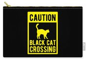 Halloween Shirt Caution Black Cat Crossing Gift Tee Carry-all Pouch