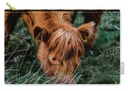 Highland Cow Eating Close Up Carry-all Pouch by Scott Lyons