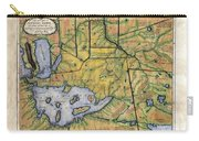 Historical Map Hand Painted Lake Superior Norhern Minnesota Boundary Waters Captain Carver Carry-all Pouch
