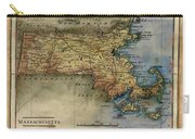 Historical Map Hand Painted Massachussets Carry-all Pouch