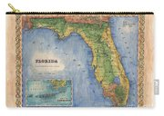 Historical Map Hand Painted Vintage Florida Colton Carry-all Pouch