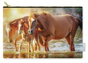 Horse Family Walking In Lake At Sunrise Carry-all Pouch