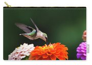Hummingbird In Flight With Orange Zinnia Flower Carry-all Pouch