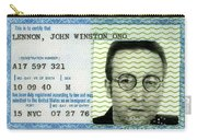 John Lennon Immigration Green Card 1976 Carry-all Pouch