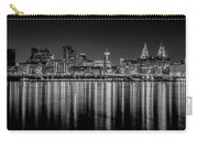 Liverpool Skyline In The Night Black And White Carry-all Pouch