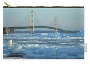 Mackinac Bridge In Ice 2161801 Carry-all Pouch by Rick Veldman