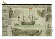 Man Of War Ship Diagram - German - 18th Century Carry-all Pouch