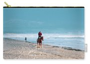 Man Riding On A Brown Galloping Horse On Ayia Erini Beach In Cyp Carry-all Pouch