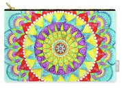 Mandala Of Many Colors On Turquoise Carry-all Pouch