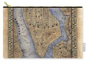 Manhattan New York Antique Map Brooklyn Hand Painted Carry-all Pouch