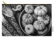Mimi Pumpkins In Wicker Bowl Black And White Carry-all Pouch