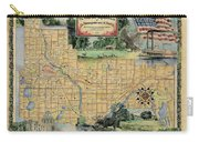 Minneapolis St. Paul Map Vintage Custom Map Art Hand Painted Carry-all Pouch