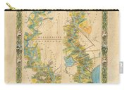 Mississippi River Historic Map Lousiana New Orleans Baton Rouge Map Farming Plantation Hand Painted  Carry-all Pouch