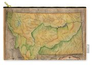 Montana Custom Map Art Rivers Map Hand Painted Carry-all Pouch