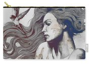 Monument - Red 'n Blue - Sleeping Beauty, Woman With Skyline Tattoo And Bird Carry-all Pouch