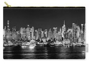 New York City Nyc Skyline Midtown Manhattan At Night Black And White Carry-all Pouch