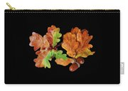 Oak Leaves And Acorns On Black Carry-all Pouch