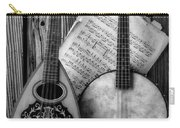 Old Banjo And Mandolin Black And White Carry-all Pouch
