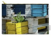 Old Pallet Painted White, Blue And Yellow Used As Flower Pot Carry-all Pouch