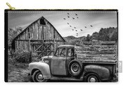 Old Truck At The Barn Bordered Black And White Carry-all Pouch